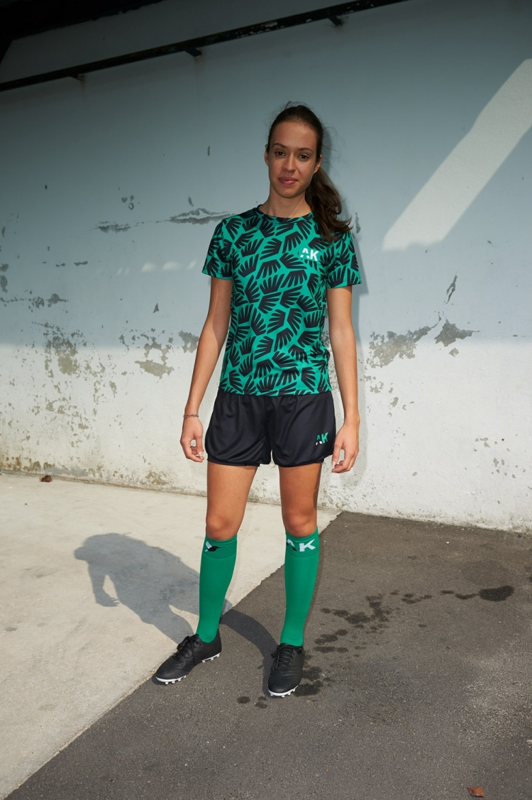 Suzanne Jersey - Winged Black & Green - Women's Football - Distant view