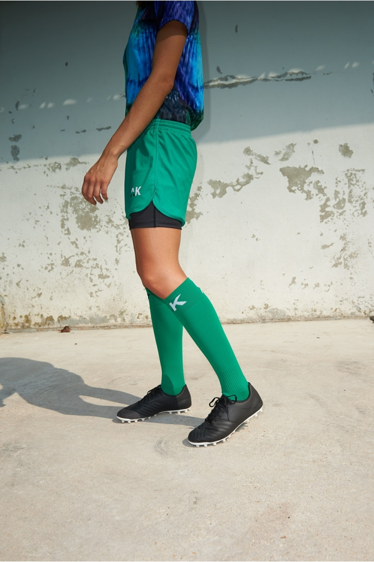 Short with under-short Mia - Green - Women's Football - Side view