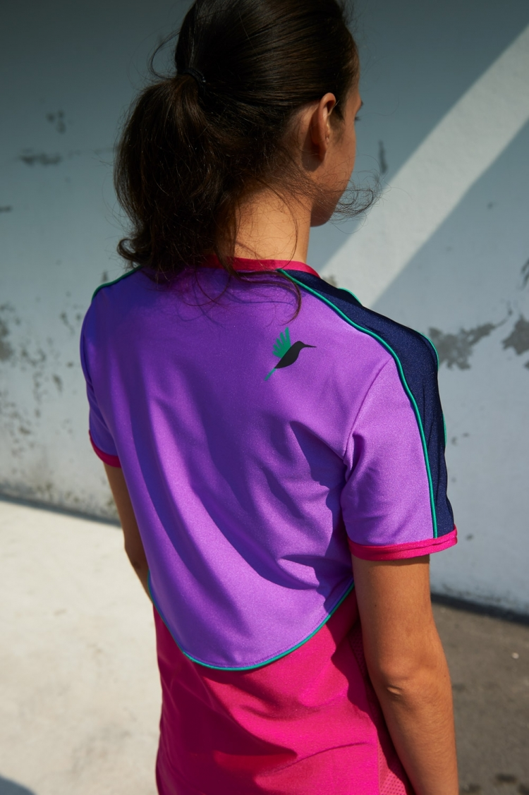 Honeyball Jersey Purple Jazz - Women's Soccer - Back view detail hummingbird